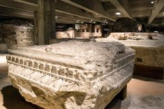 Ondergronds van de kathedraal van Milaan, Italië Stock Foto