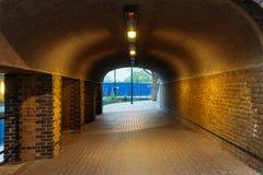 Ondergrondse Baksteentunnel Stock Afbeelding