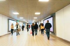 Ondergrondse metrotunnel Royalty-vrije Stock Afbeeldingen