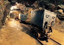 Ondergrondse mijntunnel, mijnbouw Stock Fotografie