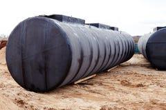 Ondergrondse opslagtank bij een bouwwerf. Royalty-vrije Stock Foto