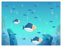 Ondergrondse overzeese vissen stock illustratie