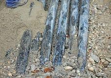 Ondergrondse pijpen golf voor optische vezel en machtskabels Stock Foto