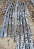 Ondergrondse pijpen golf voor optische vezel en machtskabels Stock Fotografie