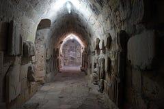 Ondergrondse ruimte in kasteel Stock Foto's
