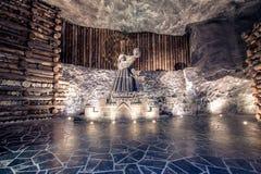 Ondergrondse Wieliczka-Zoutmijn 13de eeuw, één van de wereld` s oudste zoutmijnen, dichtbij Krakau, Polen royalty-vrije stock foto's