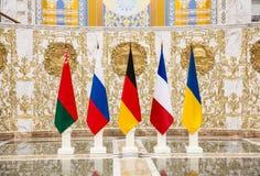 Onderhandelingen van leiders van staten in Norman formaat in Minsk Royalty-vrije Stock Fotografie