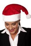 Onderneemster bij een Kerstmispartij royalty-vrije stock fotografie