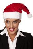 Onderneemster bij een Kerstmispartij royalty-vrije stock afbeelding