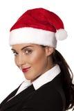 Onderneemster bij een Kerstmispartij stock foto