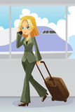 Onderneemster bij luchthaven stock illustratie