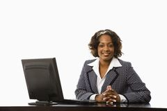 Onderneemster in bureau. Stock Foto's
