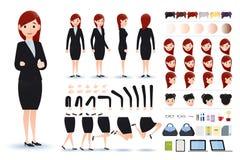 Onderneemster Character Creation Kit Template met Verschillende Gelaatsuitdrukkingen stock illustratie