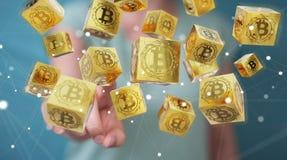 Onderneemster die bitcoins cryptocurrency het 3D teruggeven gebruiken Stock Fotografie