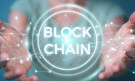 Onderneemster die blockchain 3D rende van de cryptocurrencyinterface gebruiken Stock Fotografie
