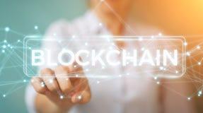 Onderneemster die blockchain 3D rende van de cryptocurrencyinterface gebruiken Royalty-vrije Stock Fotografie