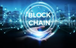 Onderneemster die blockchain 3D rende van de cryptocurrencyinterface gebruiken Royalty-vrije Stock Foto