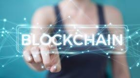 Onderneemster die blockchain 3D rende van de cryptocurrencyinterface gebruiken Royalty-vrije Stock Afbeelding