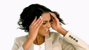 Onderneemster die boos haar hoofd schudden stock footage