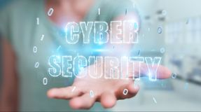 Onderneemster die cyber het hologram van de veiligheidstekst het 3D teruggeven gebruiken Stock Foto's