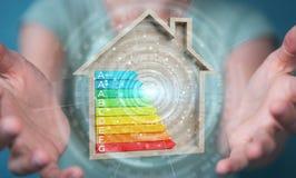 Onderneemster die 3D het teruggeven grafiek van de energieclassificatie in houten gebruiken Royalty-vrije Stock Fotografie