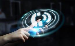 Onderneemster die de hulp van de hotlineklant het 3D teruggeven gebruiken Stock Fotografie