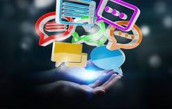 Onderneemster die digitaal kleurrijk 3D teruggevend gesprek i gebruiken Stock Afbeelding