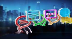 Onderneemster die digitaal kleurrijk 3D teruggevend gesprek i gebruiken Stock Fotografie