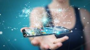 Onderneemster die digitale binaire code inzake mobiele telefoon 3D rende gebruiken Royalty-vrije Stock Afbeelding