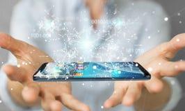Onderneemster die digitale binaire code inzake mobiele telefoon 3D rende gebruiken Stock Afbeelding
