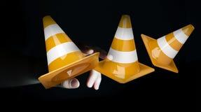Onderneemster die digitale 3D gebruiken in aanbouw teruggevend teken Royalty-vrije Stock Afbeelding
