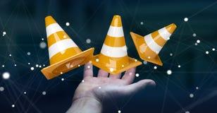 Onderneemster die digitale 3D gebruiken in aanbouw teruggevend teken Royalty-vrije Stock Foto's