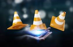Onderneemster die digitale 3D gebruiken in aanbouw teruggevend teken Stock Foto's