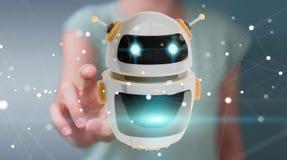 Onderneemster die digitale de toepassings 3D renderi gebruiken van de chatbotrobot Stock Fotografie