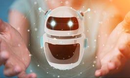 Onderneemster die digitale de toepassings 3D renderi gebruiken van de chatbotrobot Royalty-vrije Stock Foto's
