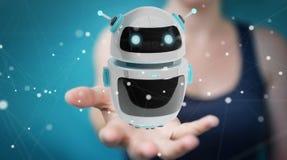 Onderneemster die digitale de toepassings 3D renderi gebruiken van de chatbotrobot Stock Afbeelding