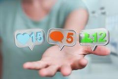 Onderneemster die digitale kleurrijke sociale media pictogrammen 3D rende gebruiken Stock Afbeeldingen
