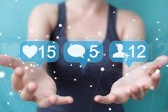 Onderneemster die digitale kleurrijke sociale media pictogrammen 3D rende gebruiken Royalty-vrije Stock Afbeeldingen
