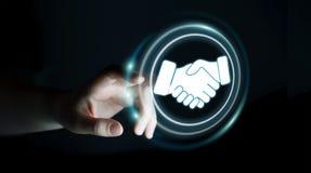 Onderneemster die digitale presentatie voor vennootschapzaken gebruiken Stock Foto's