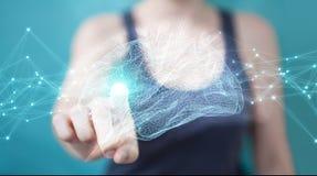 Onderneemster die digitale x-ray menselijke 3D rende van de herseneninterface gebruiken Royalty-vrije Stock Foto