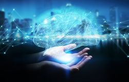 Onderneemster die digitale x-ray menselijke 3D rende van de herseneninterface gebruiken Stock Fotografie