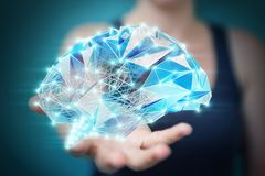 Onderneemster die digitale x-ray menselijke hersenen in haar houden hand 3D r Stock Foto