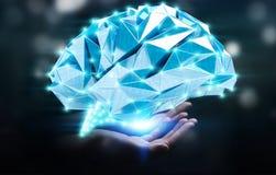 Onderneemster die digitale x-ray menselijke hersenen in haar houden hand 3D r Royalty-vrije Stock Fotografie