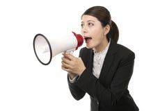 Onderneemster die een megafoon met behulp van Royalty-vrije Stock Fotografie