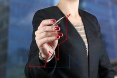 Onderneemster die een virtuele grafiek trekken door een rode pen Royalty-vrije Stock Afbeelding