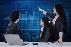 Onderneemster die financiële statistieken verklaren royalty-vrije stock foto's