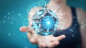Onderneemster die futuristische de camera 3D renderin gebruiken van de hommelveiligheid Stock Afbeeldingen