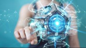 Onderneemster die futuristische de camera 3D renderin gebruiken van de hommelveiligheid Stock Afbeelding