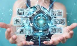 Onderneemster die futuristische de camera 3D renderin gebruiken van de hommelveiligheid Royalty-vrije Stock Foto's