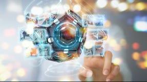 Onderneemster die futuristische de camera 3D renderin gebruiken van de hommelveiligheid Royalty-vrije Stock Afbeeldingen